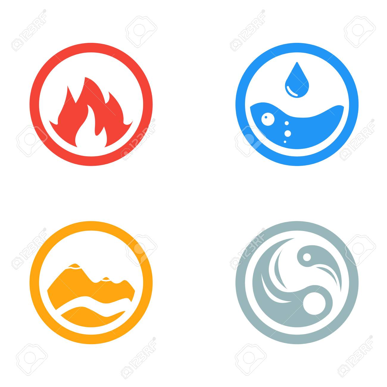 Vector illustration of four elements icons round icons symbols vector illustration of four elements icons round icons symbols template wind fire biocorpaavc Images