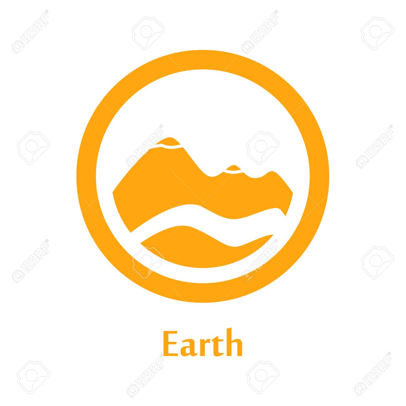 A Vector Illustration Of Earth Element Icon, Line Round Symbols ...