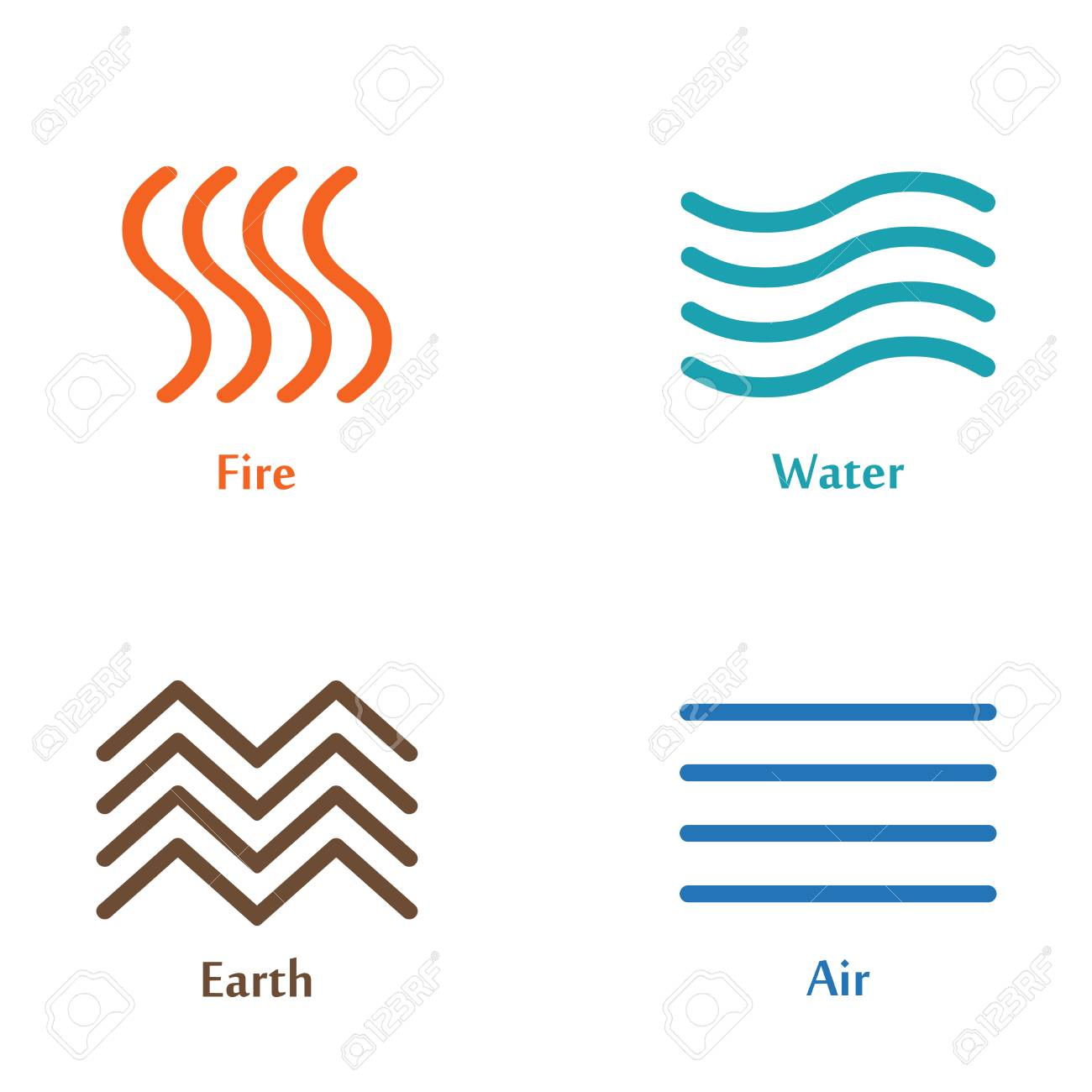 a vector illustration of four elements icons line symbols logo