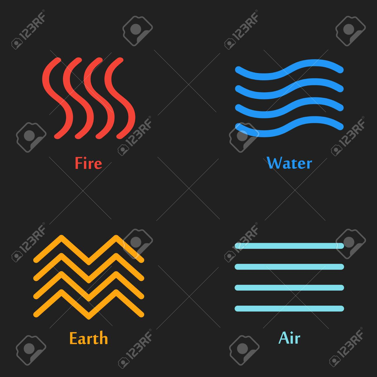 Raster Illustration Of Four Elements Icons Line Symbols Logo
