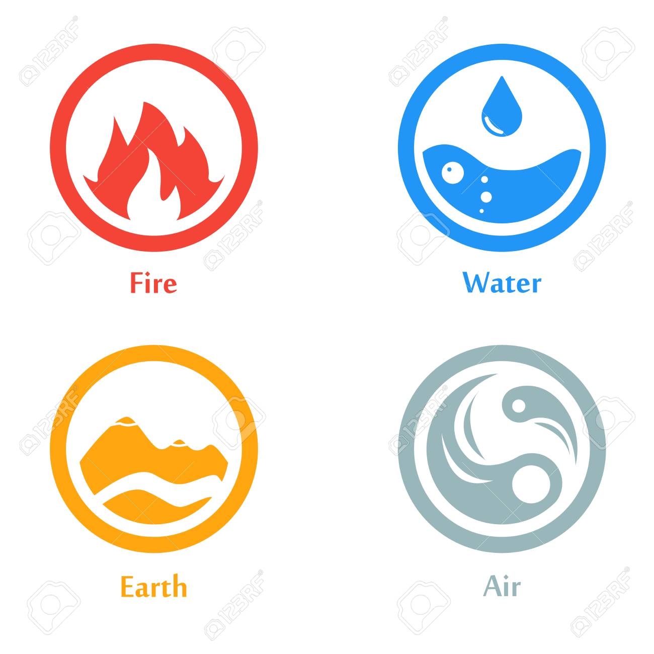 Raster Illustration Of Four Elements Icons Round Icons Symbols