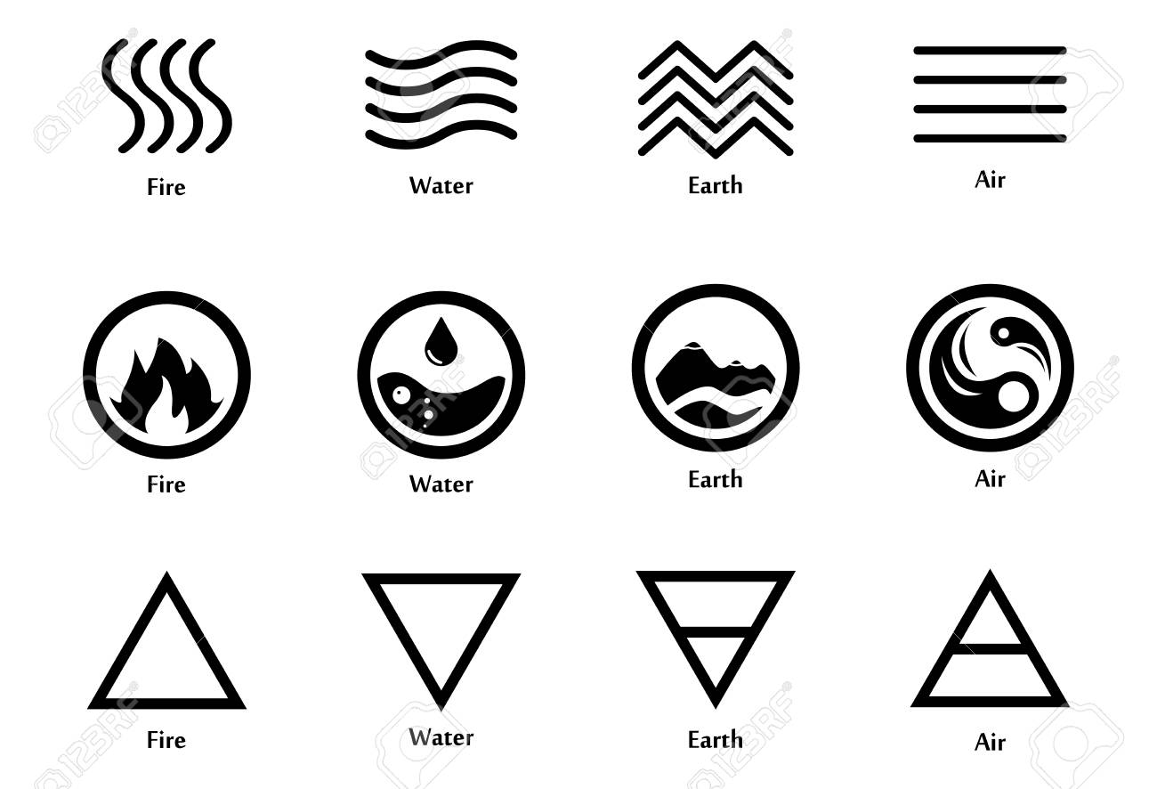 Raster illustration of four elements icons line triangle and raster illustration of four elements icons line triangle and round symbols set logo biocorpaavc