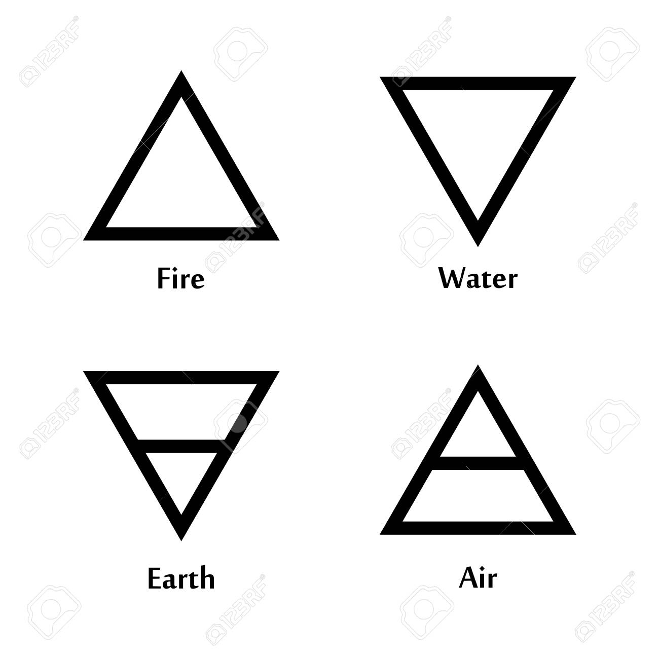Raster Illustration Of Four Elements Icons Triangle Icons Symbols