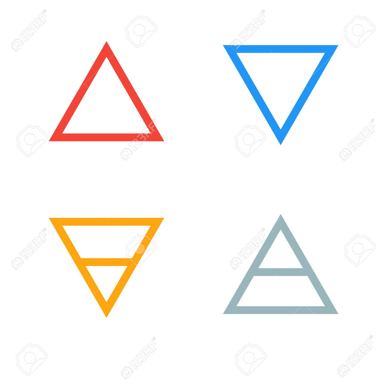 Raster Illustration Of Four Elements Icons Triangle Icons Symbols