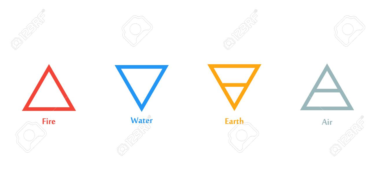 Raster illustration of four elements icons triangle icons symbols raster illustration of four elements icons triangle icons symbols logo template wind biocorpaavc
