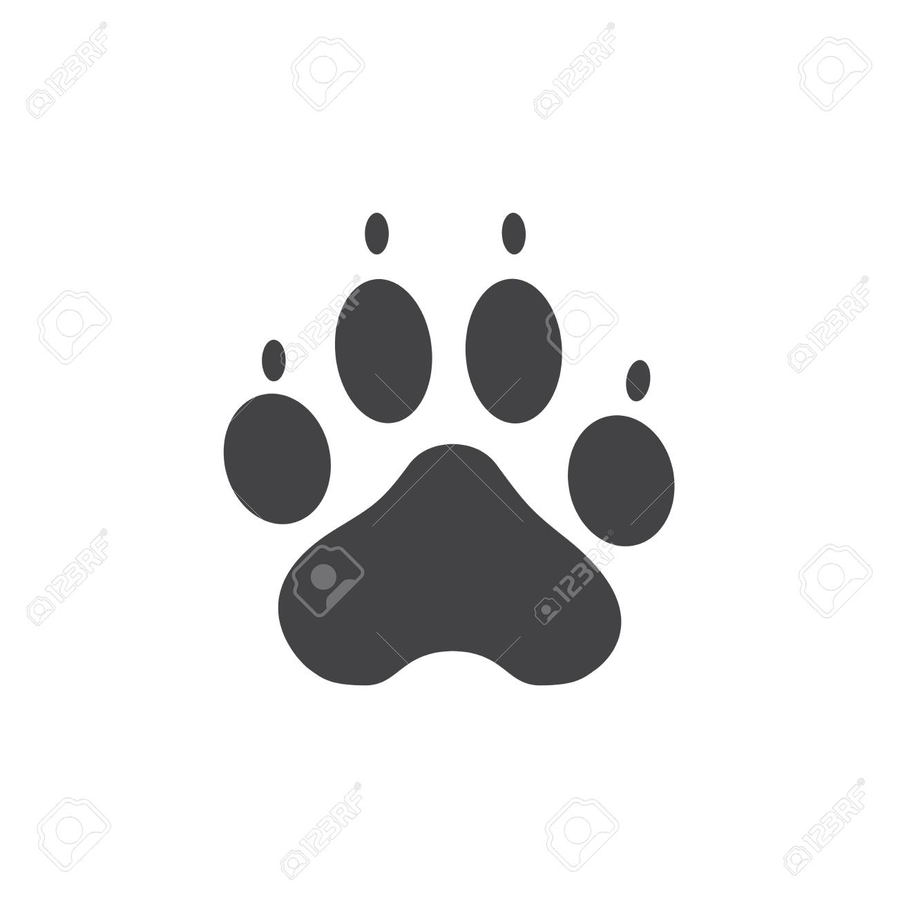 Raster Illustration Dog Paw Prints Logo Black On White Background