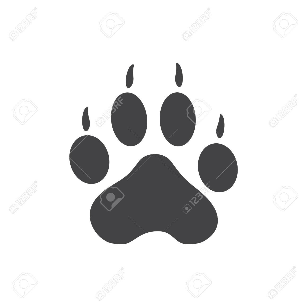 be0fac853a09 Tiger Paw Prints Logo. Black on White background. Animal paw print