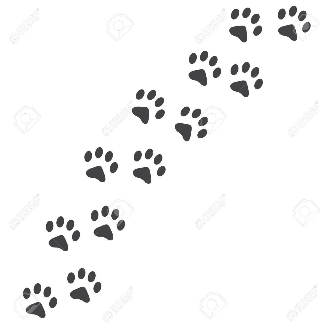 Raster Illustration Cat Paw Prints Track Logo Black On White