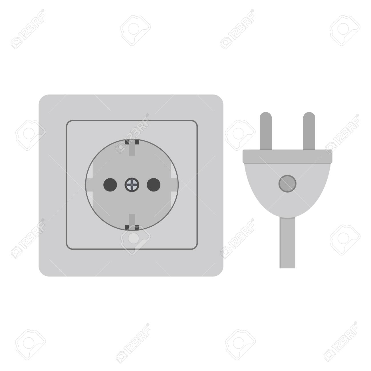Raster Illustration. Power Socket And Plug. Colour Icon. Electricity ...