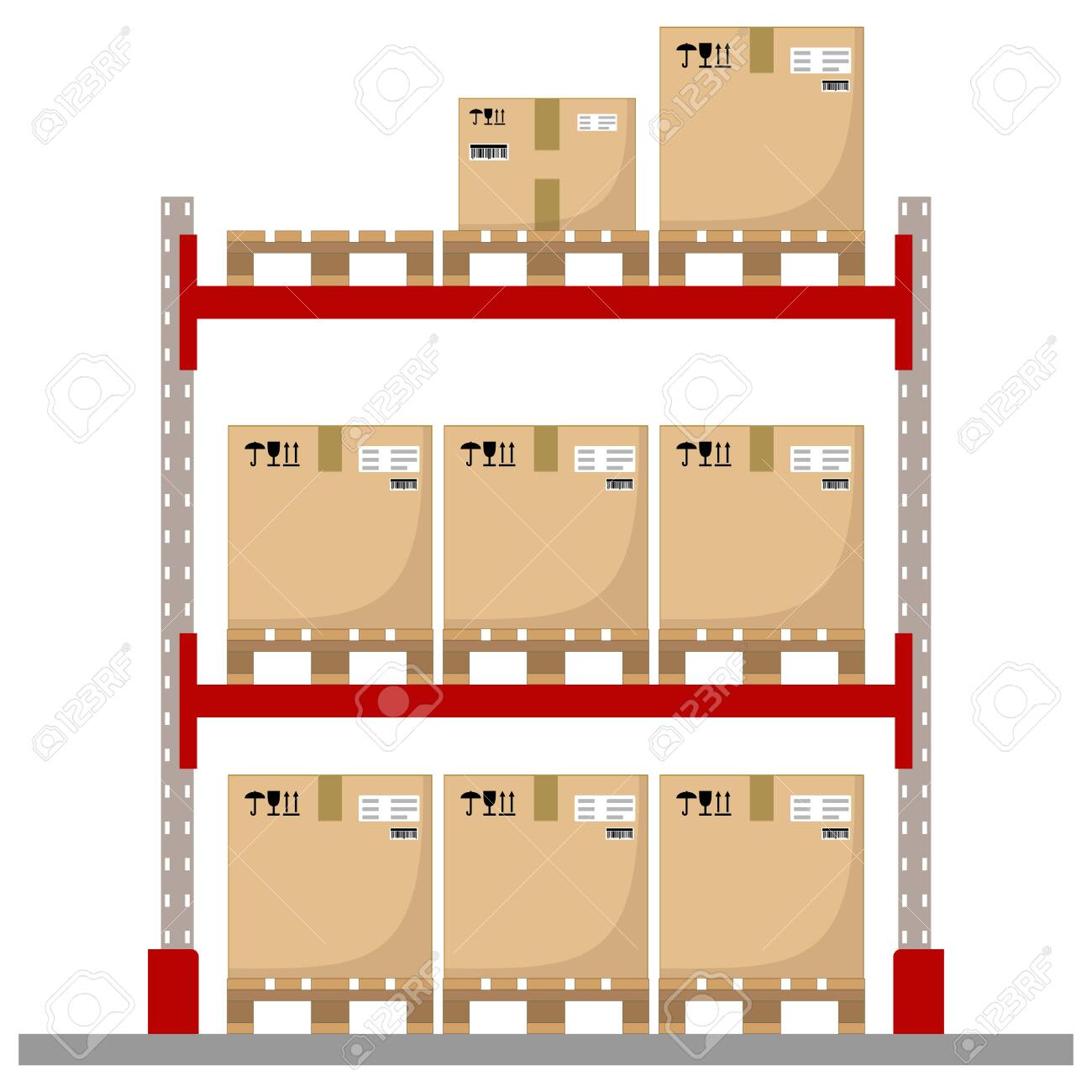 Metal racks for a warehouse with boxes on pallets. Flat design, front view. Vector illustration. - 142107840