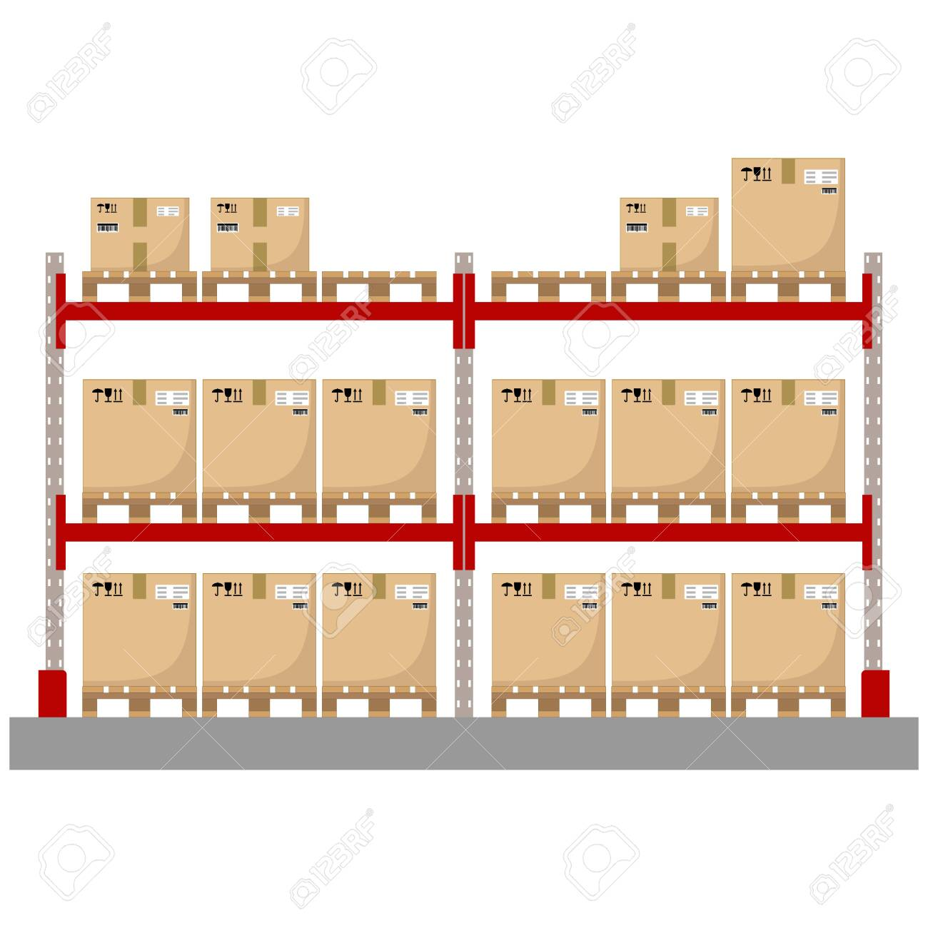 Metal racks for a warehouse with boxes on pallets. Flat design, front view. Vector illustration. - 142107841