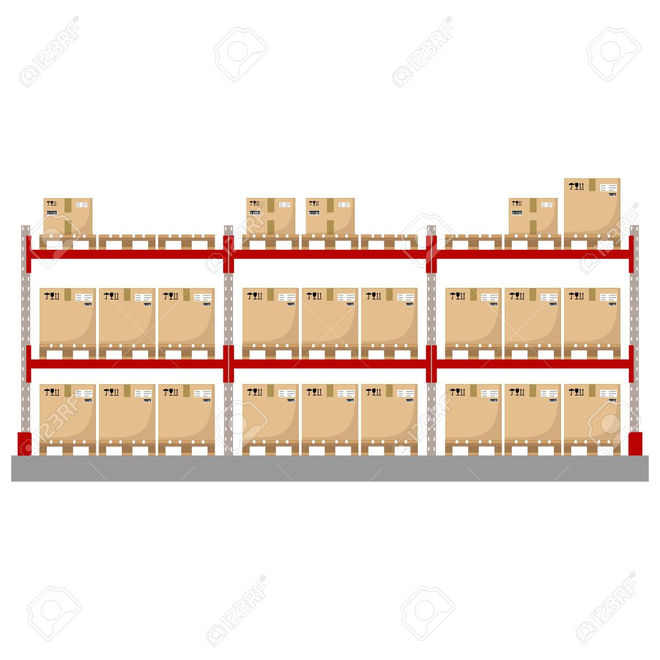 Metal racks for a warehouse with boxes on pallets. Flat design, front view. Vector illustration. - 142107844