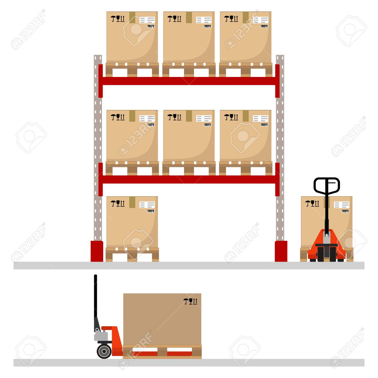 Metal racks with boxes on pallets, hand pallet trucks with a cardboard boxes. Flat design. Vector illustration. - 142107867