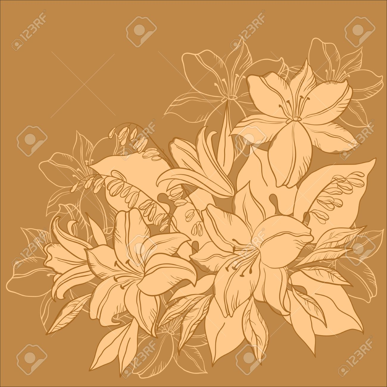 Flower background, lily and mine, flowers and leaves, monochrome Stock Vector - 9223910