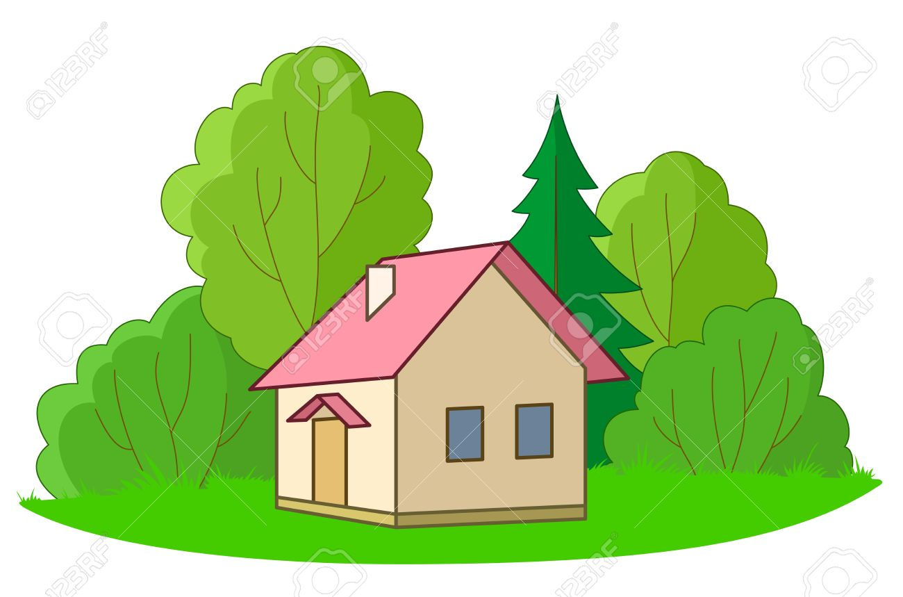 House on forest glade with trees, vector, isolated Stock Vector - 9289124
