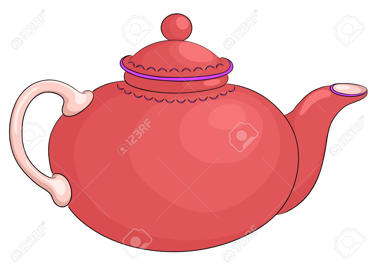China Round Red Teapot With The White Handle Royalty Free Cliparts