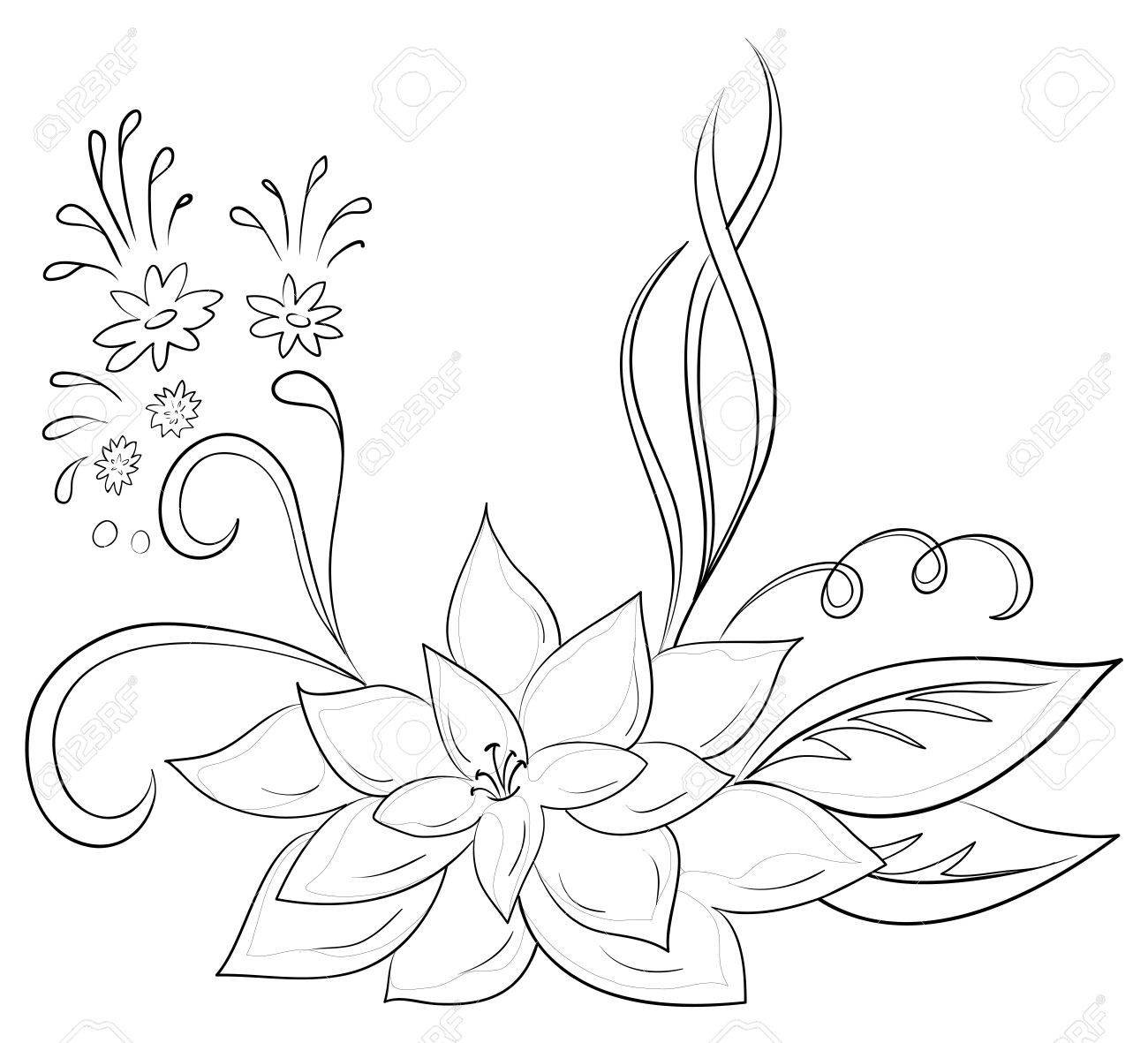 Abstract vector symbolical flower, monochrome contours, isolated Stock Vector - 9324453