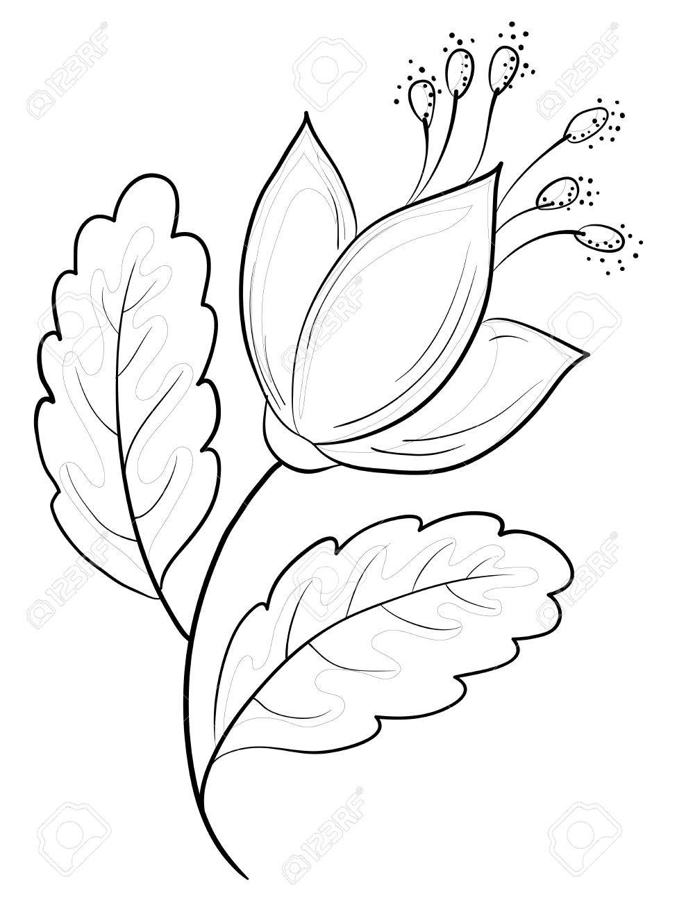 Abstract vector symbolical flower, monochrome contours, isolated Stock Vector - 9324441