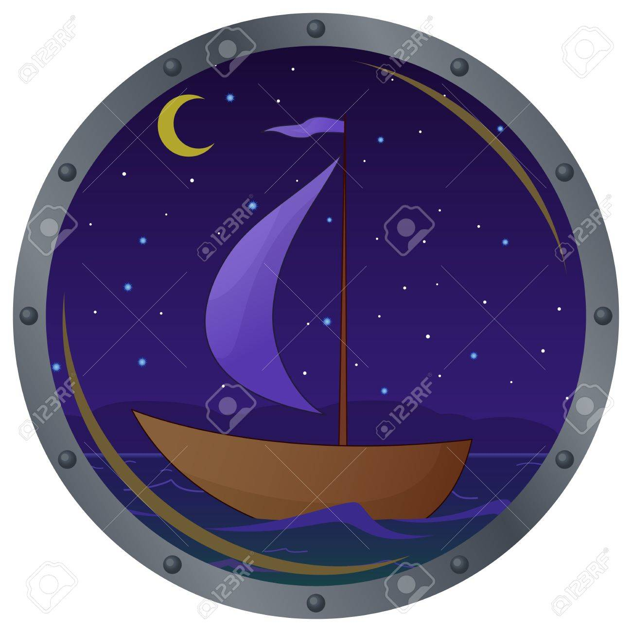 Window porthole with the ship floating on the sea in the moonlight night Stock Vector - 9331698
