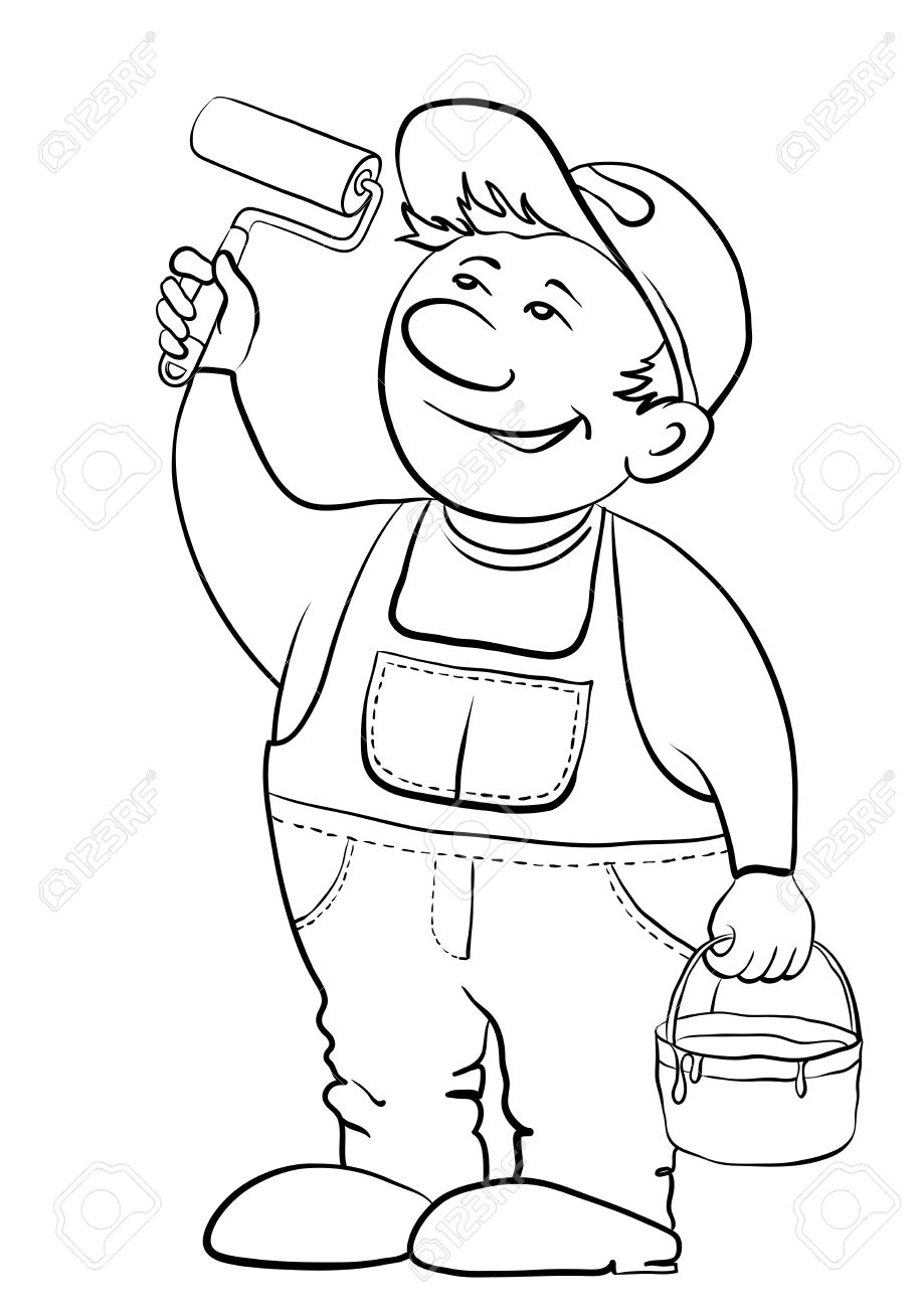 Working house painter paints, in hands at it the tool and a bucket with a paint, contour Stock Vector - 9409740