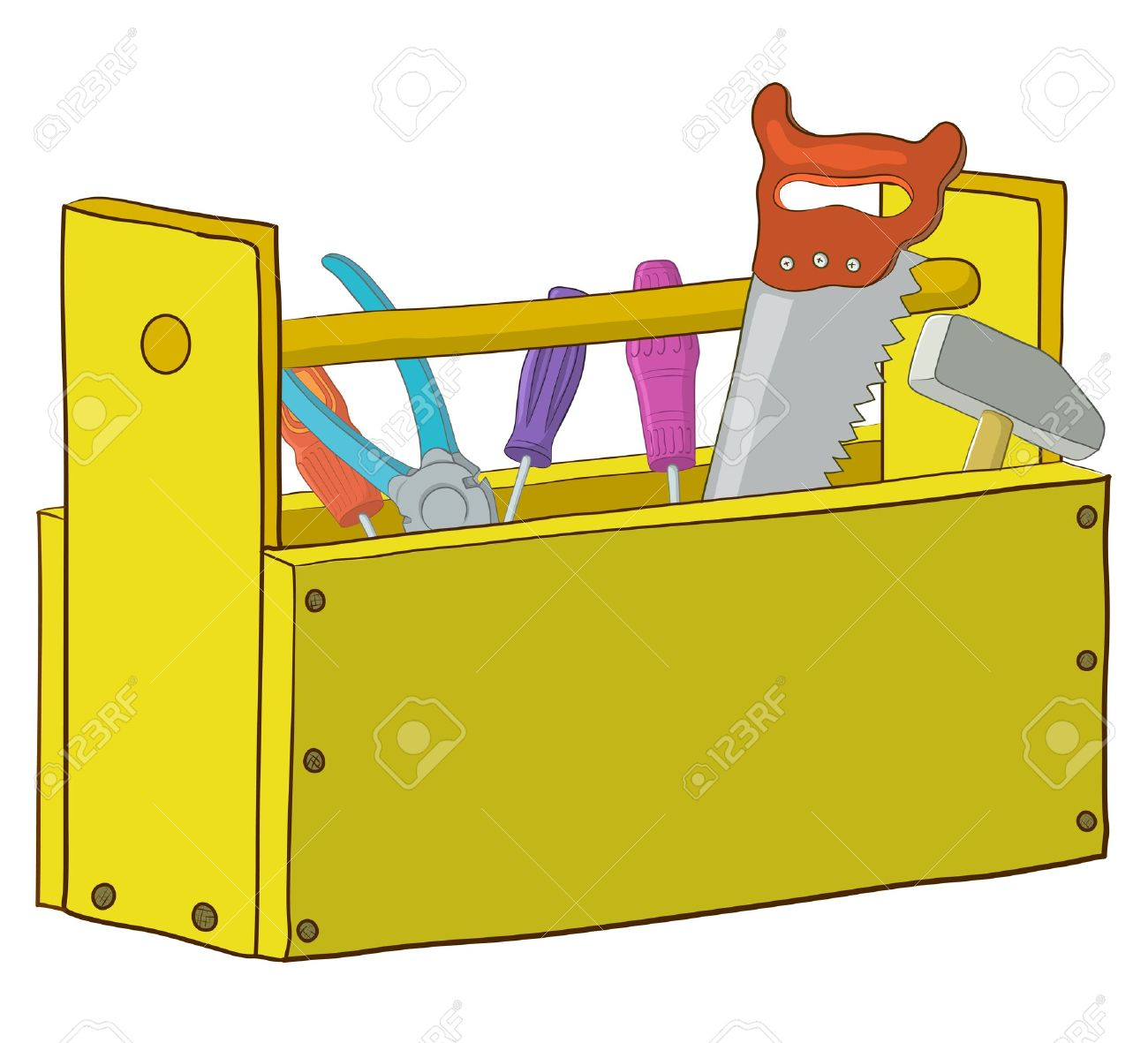 tool box clipart. wooden box with operating tools isolated vector stock 9447460 tool clipart