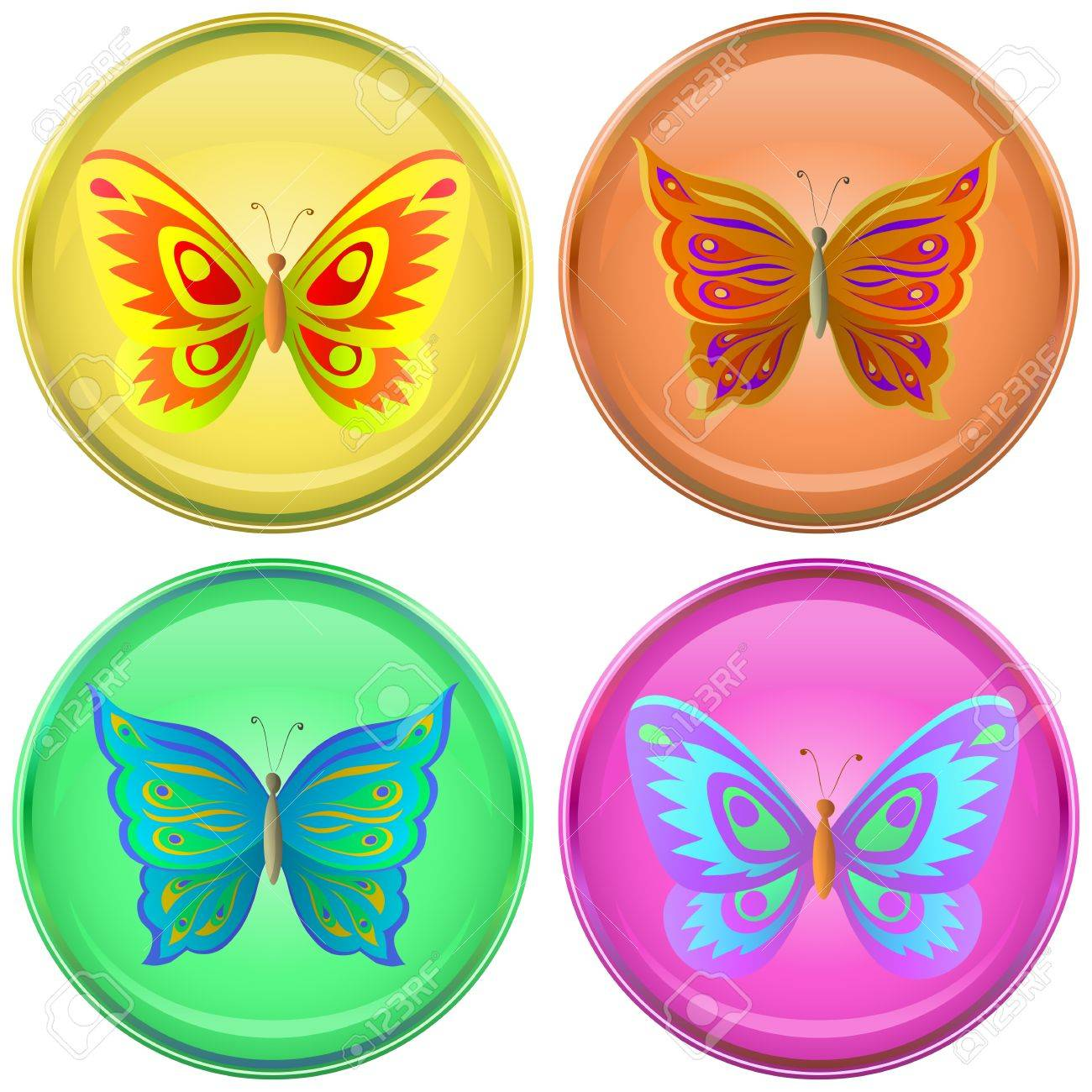 Icons, vector buttons with multi-coloured butterflies, set Stock Vector - 9447461