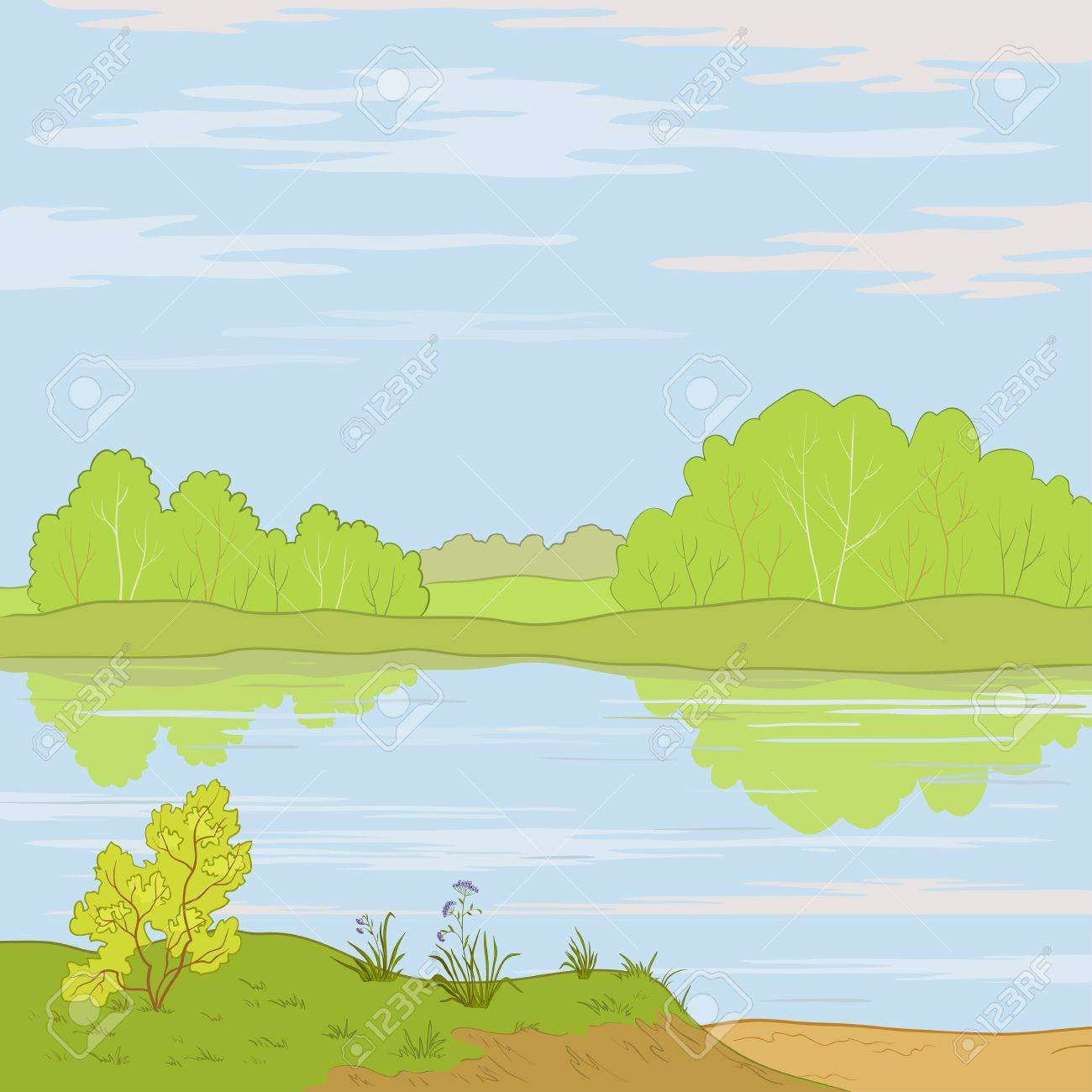 Vector, summer landscape: forest, river and the blue sky with white clouds Stock Vector - 9663783