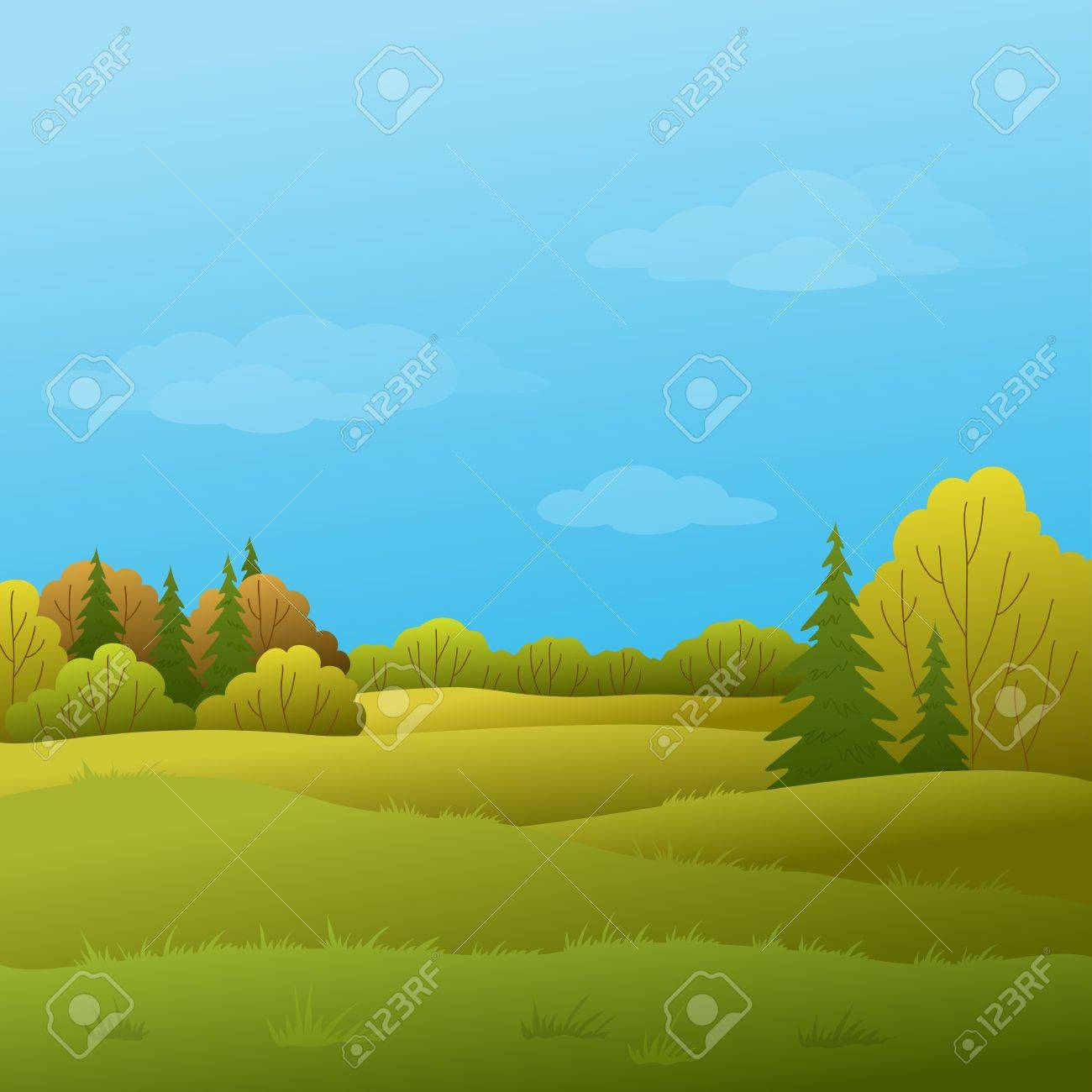 Vector, autumn landscape: forest with various trees and the blue sky with white clouds Stock Vector - 9773809