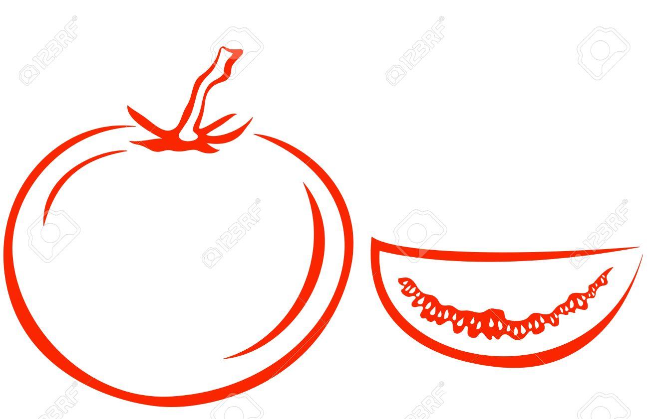 Vector, vegetable, tomato and segment, monochrome pictogram, isolated on white Stock Vector - 9930701