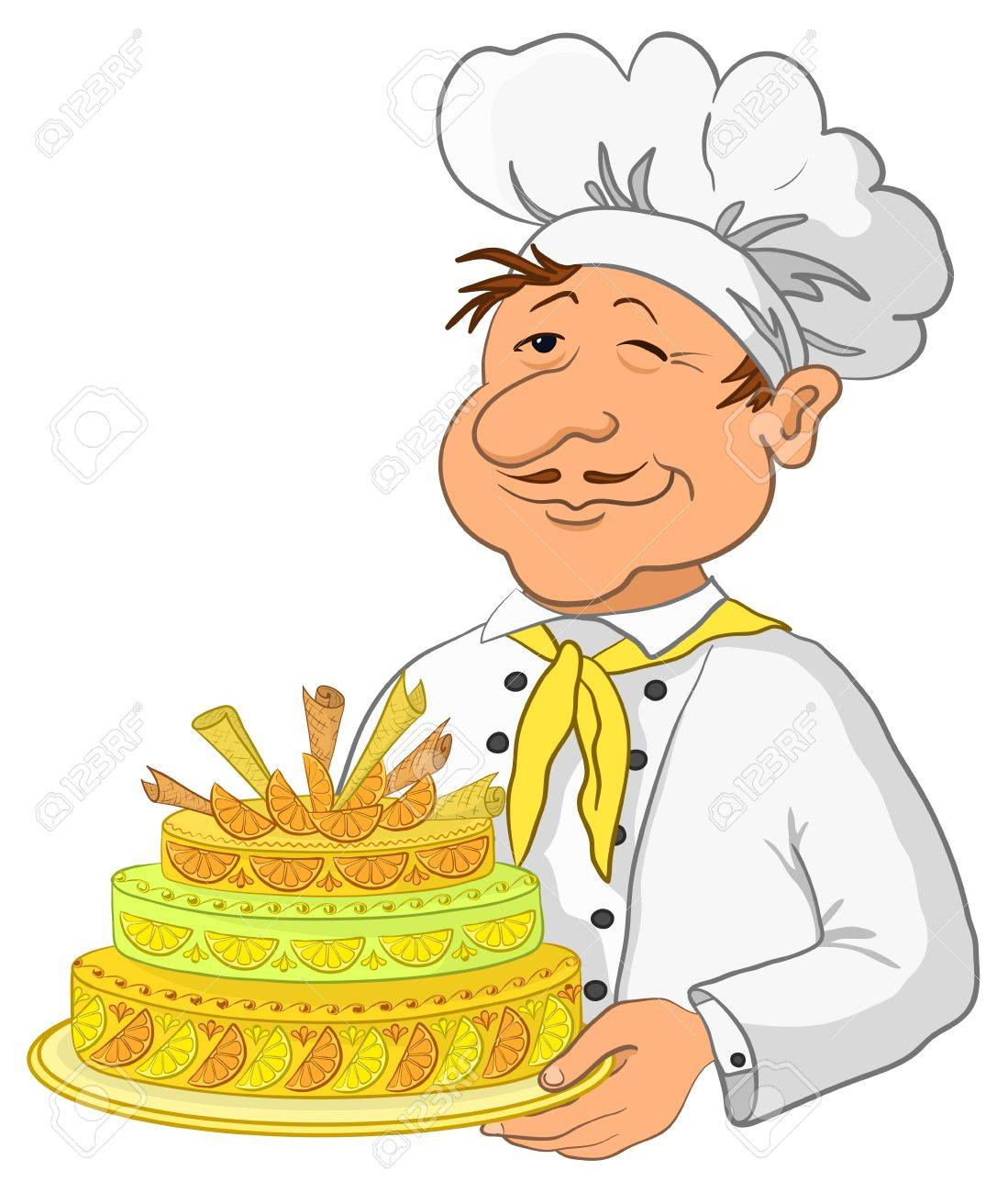 Vector, cook with beautiful sweet holiday cake, isolated Stock Vector - 9930710