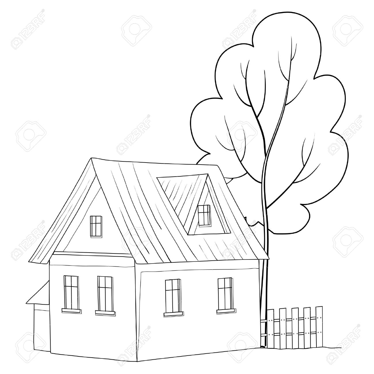 Vector cartoon, landscape: country house with a tree, monochrome contours Stock Vector - 9930716