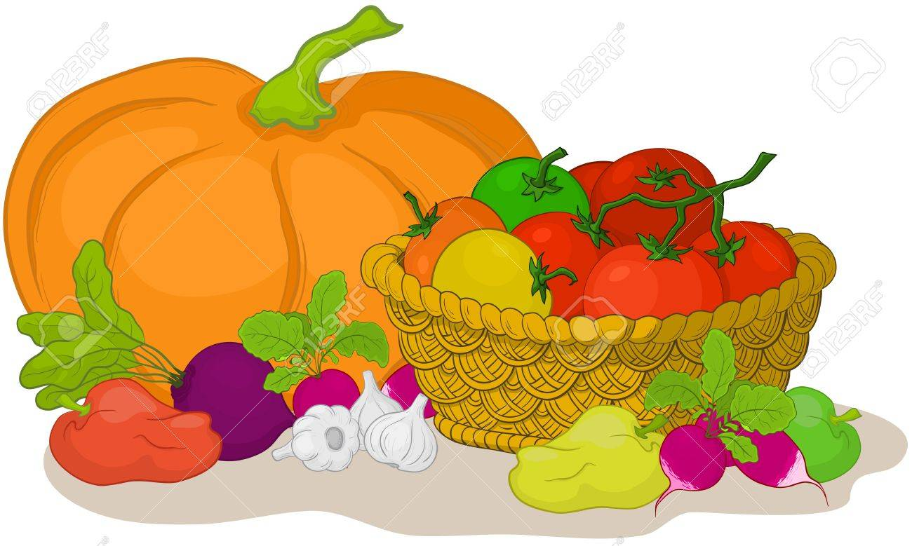 Vector, still life: various vegetables and wattled basket on white background Stock Vector - 9930732
