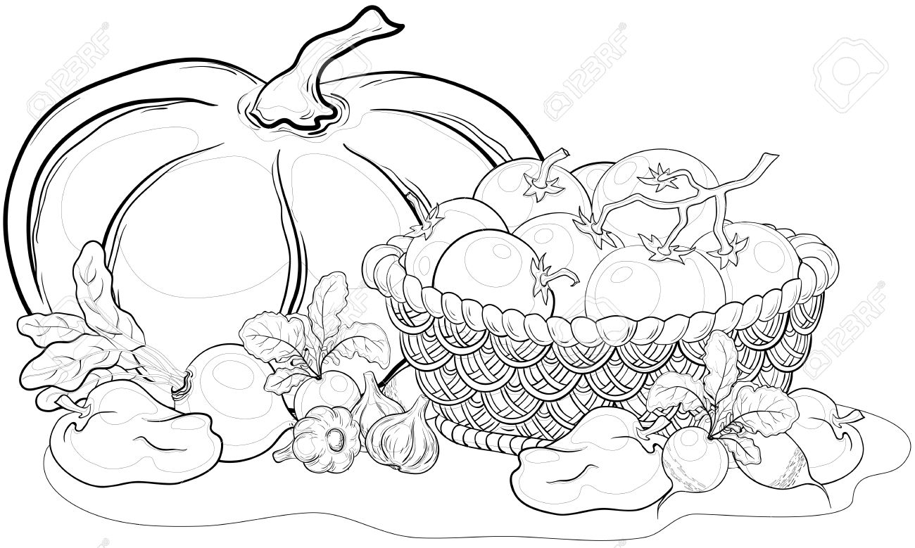 Vector, still life: various vegetables and wattled basket, monochrome contours Stock Vector - 9983231