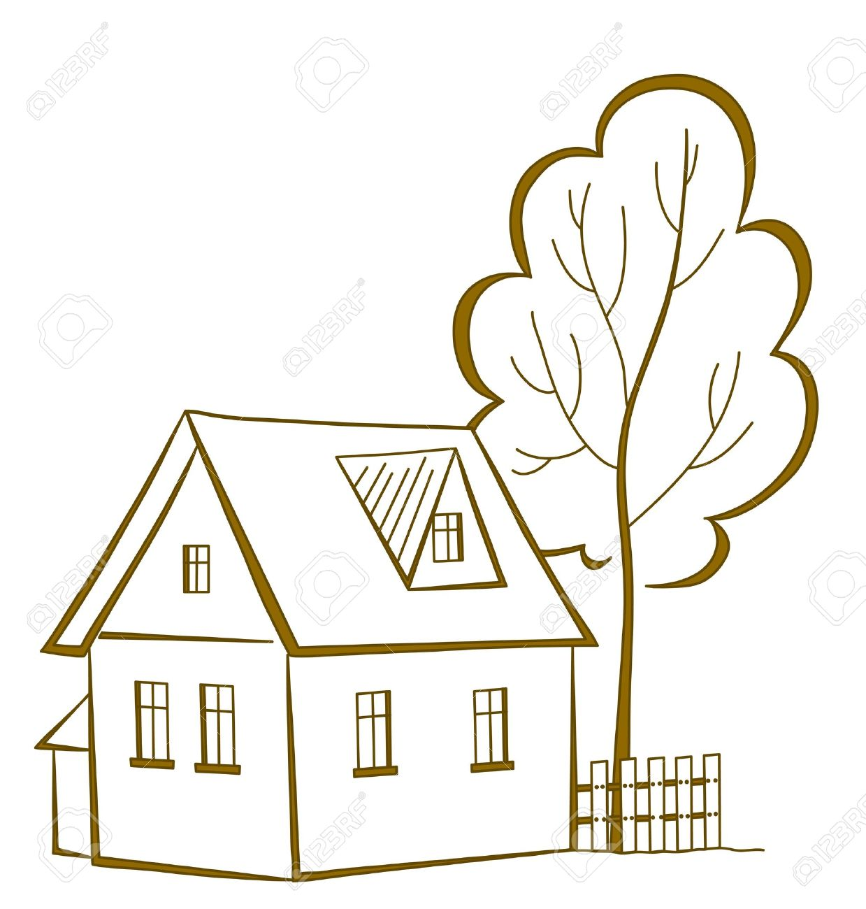 Vector cartoon, landscape: country house with a tree, monochrome symbolical pictogram Stock Vector - 9983230