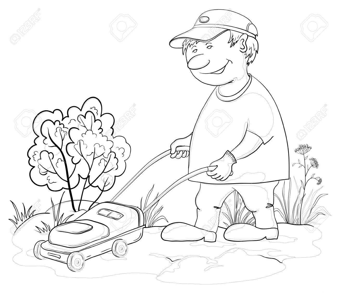 Vector, lawn mower man work, mows a grass in the garden, contours Stock Vector - 9983232