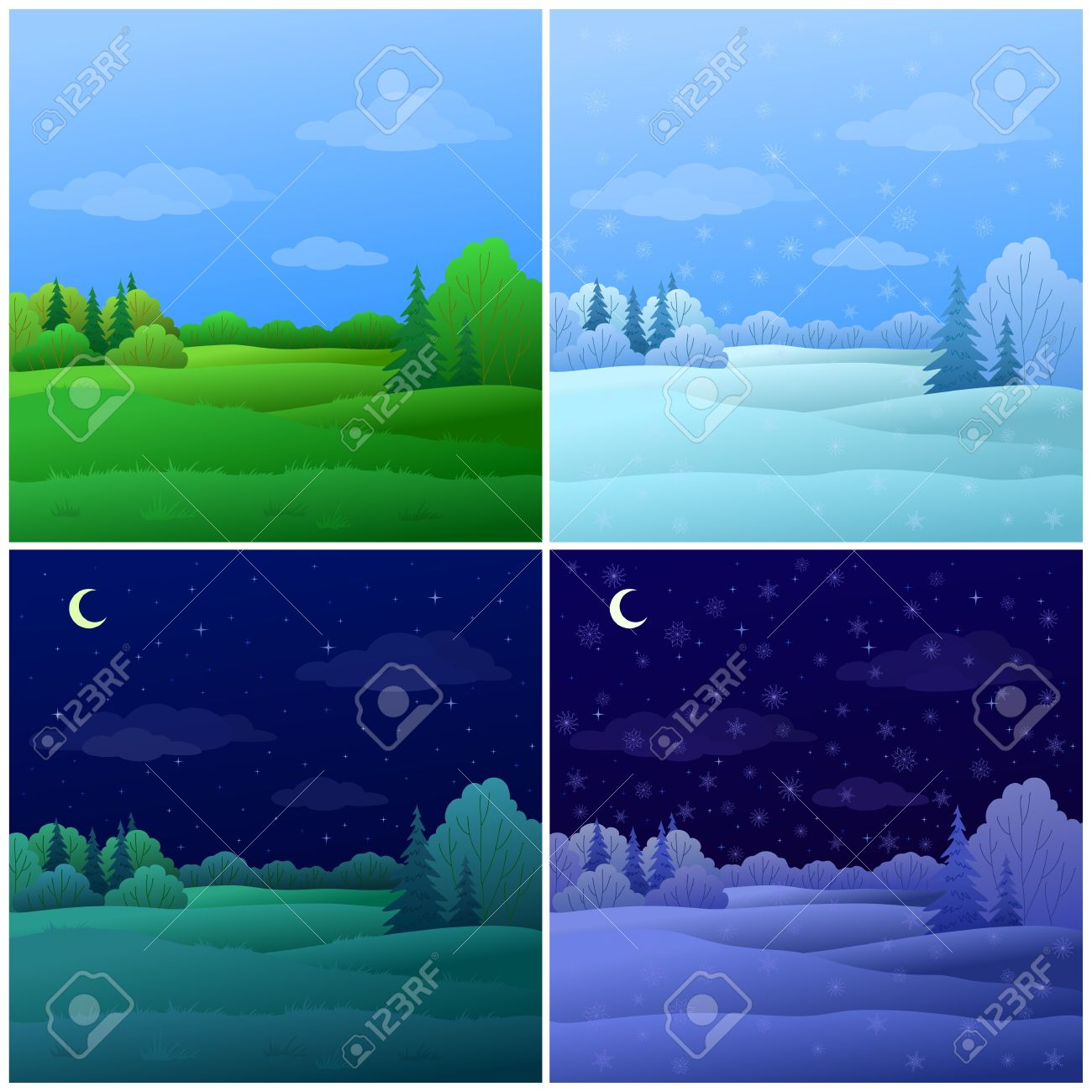 Vector, set forest landscapes: summer and winter, day and night Stock Vector - 10087503