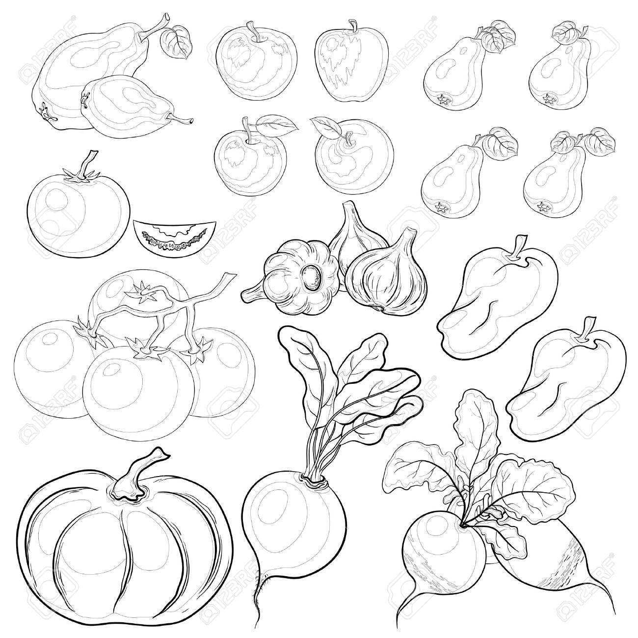 vector set various vegetables and fruits monochrome contours