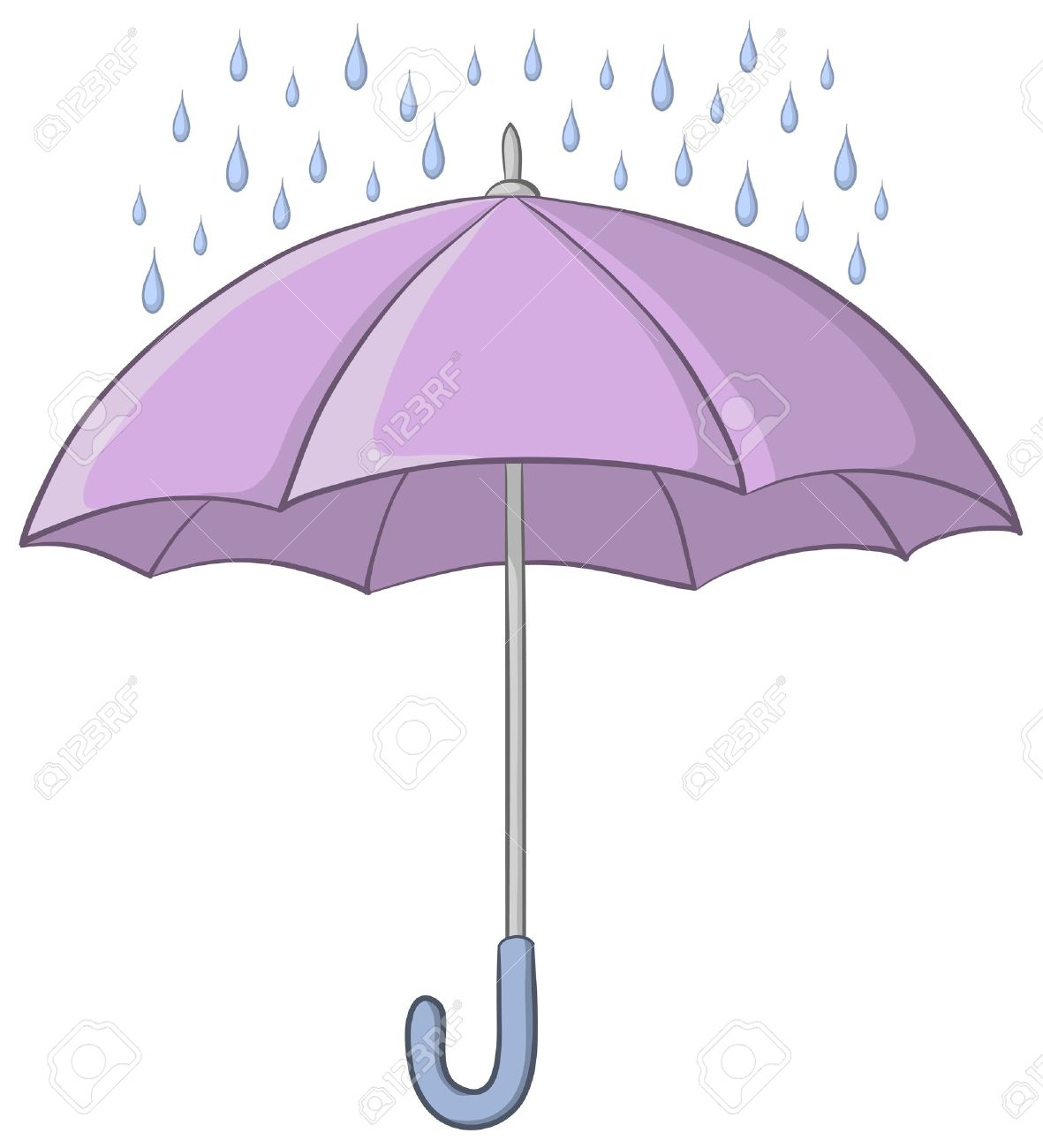 Vector, lilac umbrella and blue rain drops on white background Stock Vector - 10213191