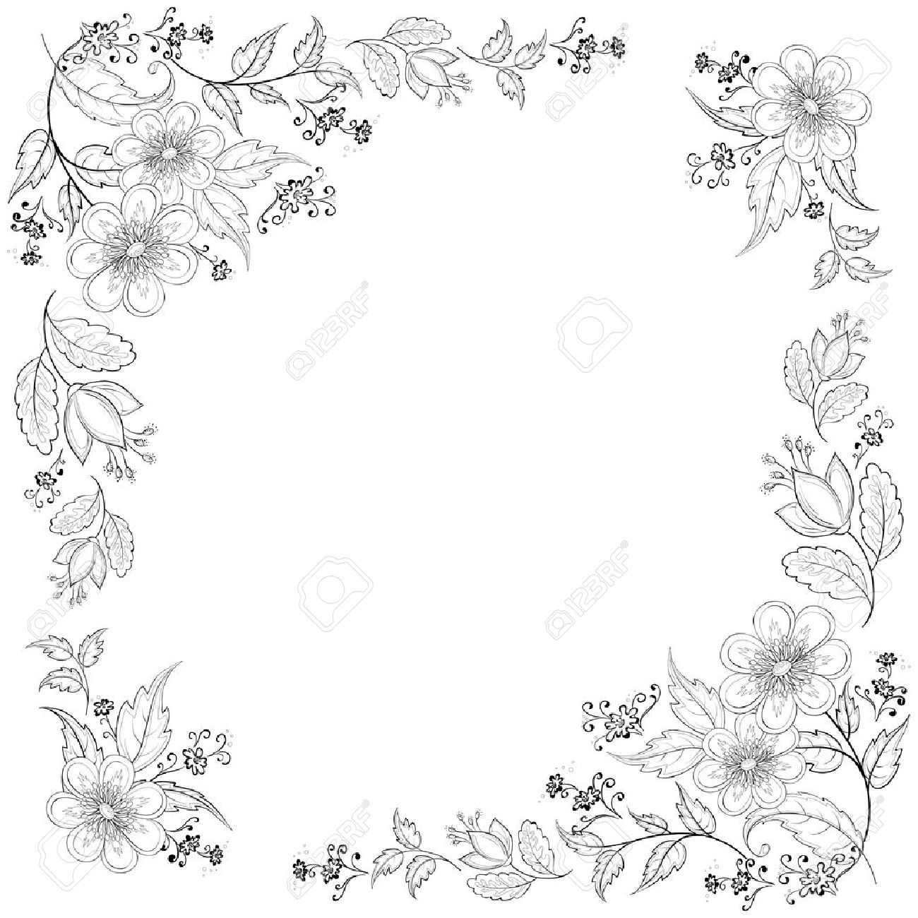 Vector, abstract background with a symbolical flowers, monochrome contours Stock Vector - 10229760