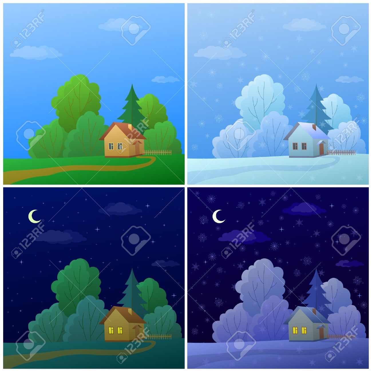 Vector cartoon, landscape: country houses in forest, summer and winter, day and night Stock Vector - 10286170