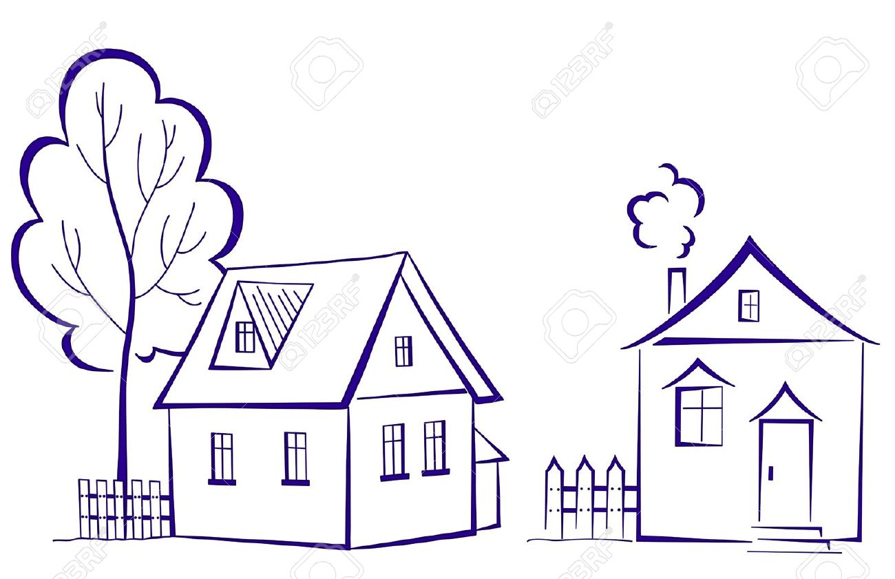 Cartoon, landscape: two houses with a tree, monochrome symbolical pictogram Stock Vector - 10343576