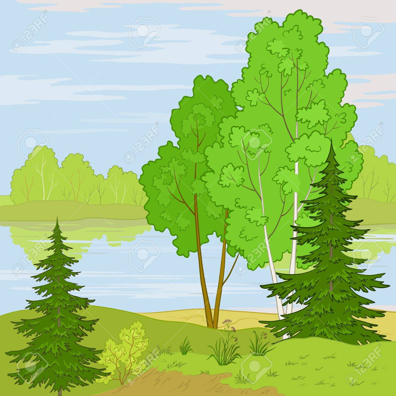 summer landscape: forest, river and the blue sky with white clouds Stock Vector - 10427521