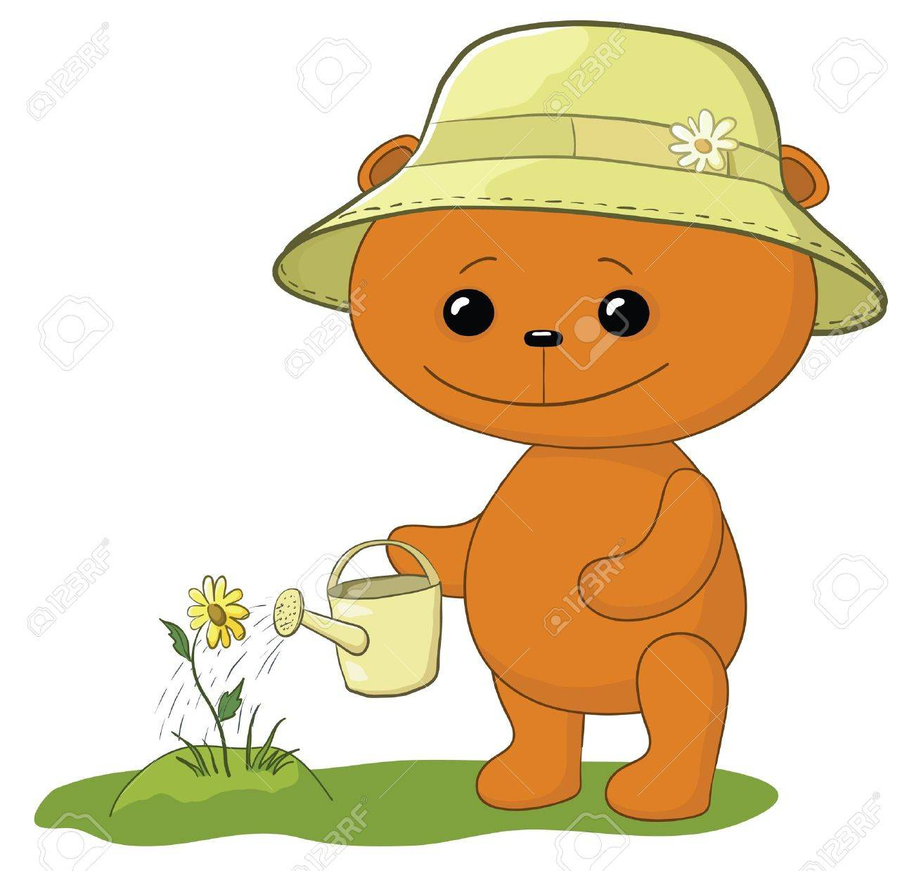 teddy bear gardener waters a bed with a flower from a watering can - 10427523