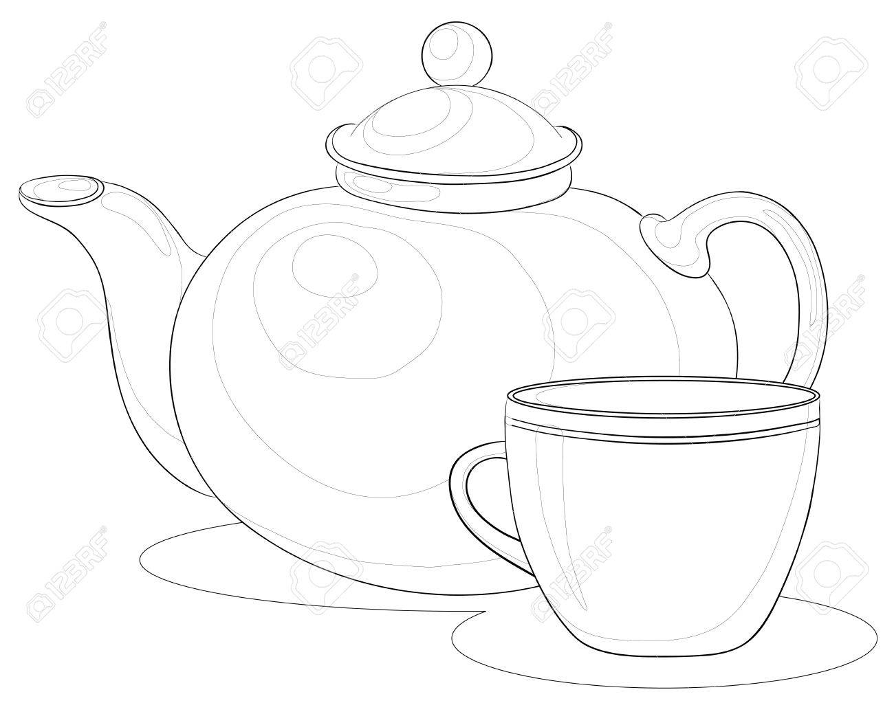 Раскраска чашка с чайников