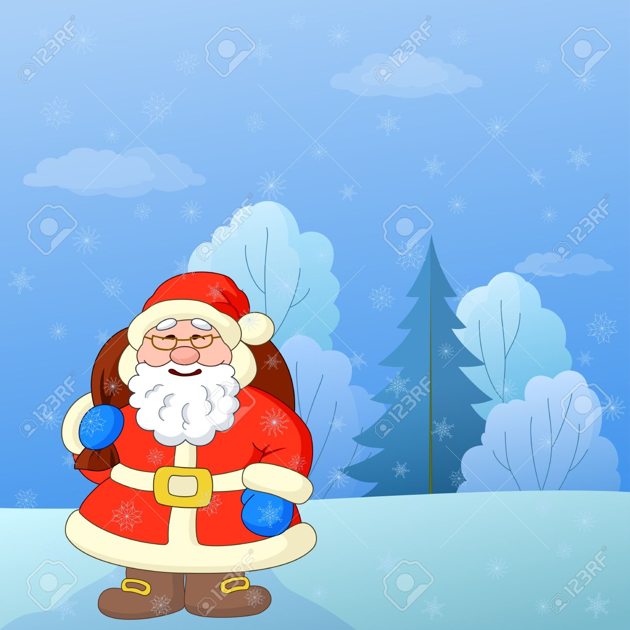 Christmas cartoon: Santa Claus with a bag of gifts on a snowy winter forest glade Stock Vector - 10457786