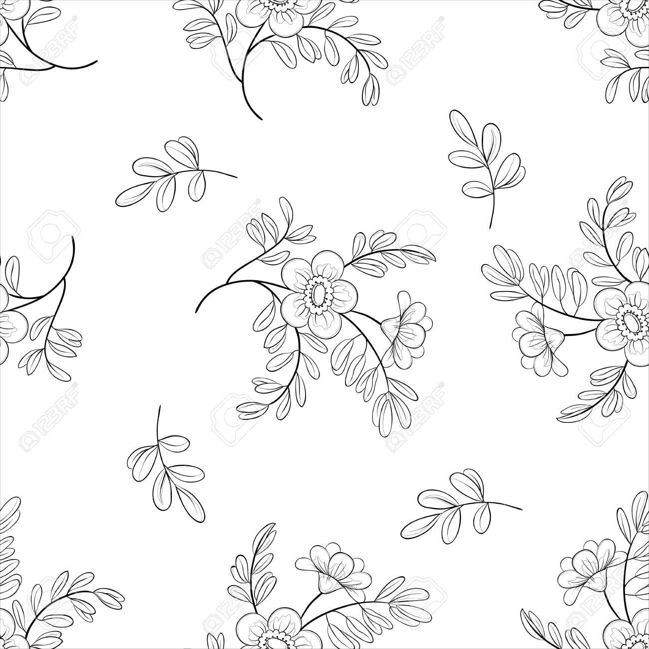 Vector seamless floral background, symbolical flowers and leafs, contours Stock Vector - 10518685