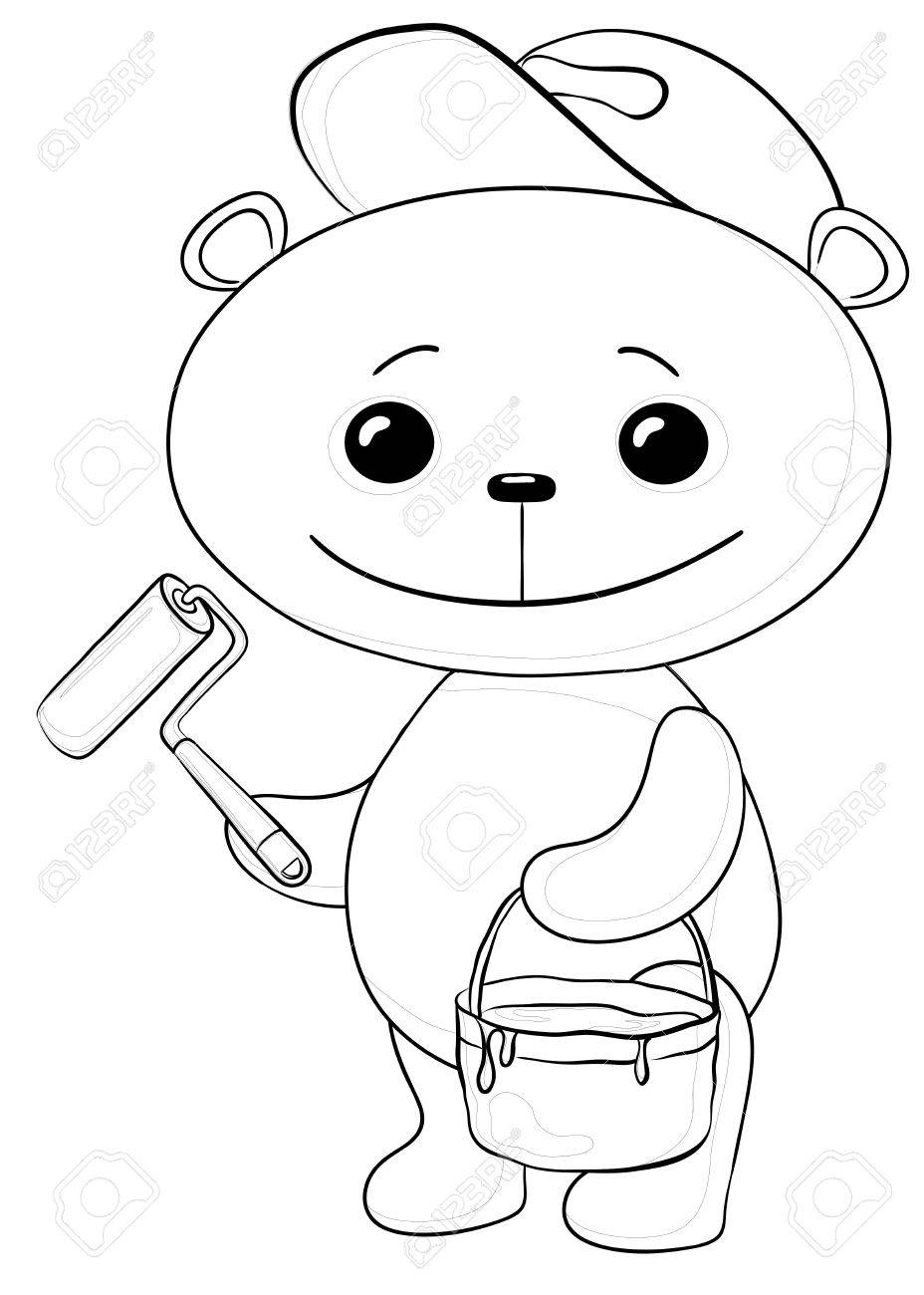 Cartoon, toy teddy bear worker house painter with a tool and a bucket of paint, contours Stock Vector - 10570865