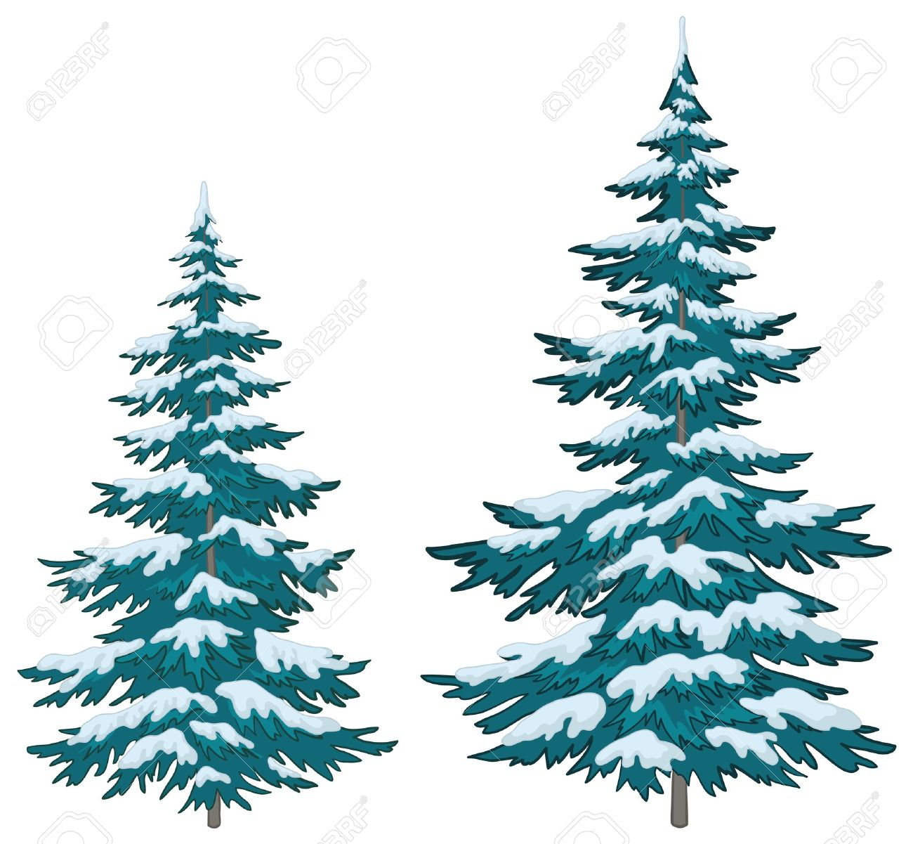 Realistic christmas tree drawing - Needle Tree Vector Christmas Trees Under Snow On A White Background