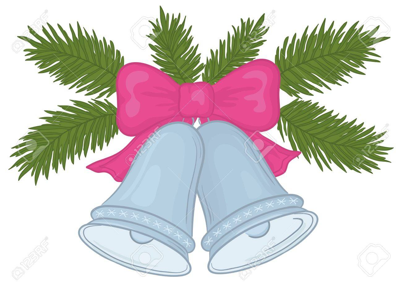 christmas decoration silver bells with pink bow and green fir