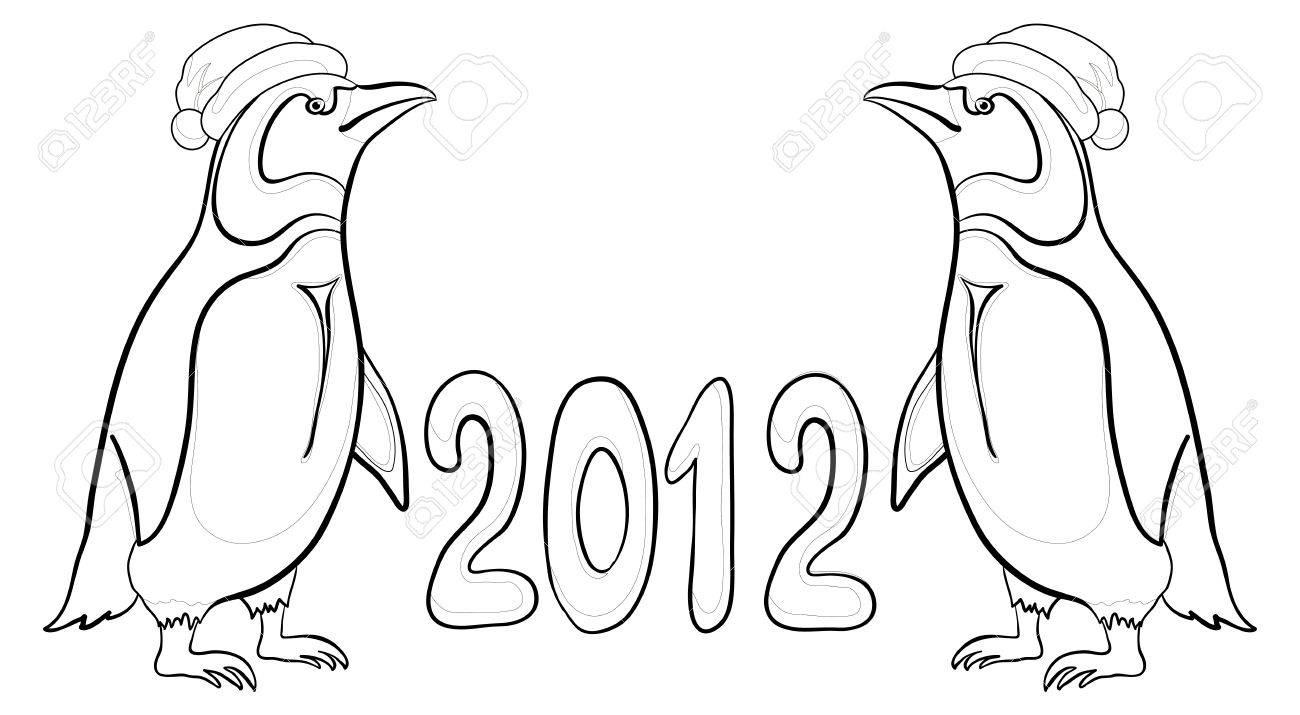 Antarctic emperor penguins in Santa hats with the inscription 2012, contours. Vector Stock Vector - 10980169